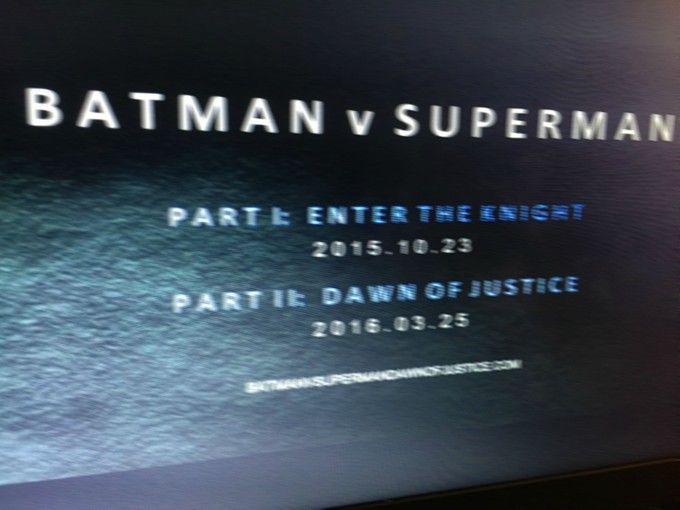 Batman v Superman Dividida en dos partes